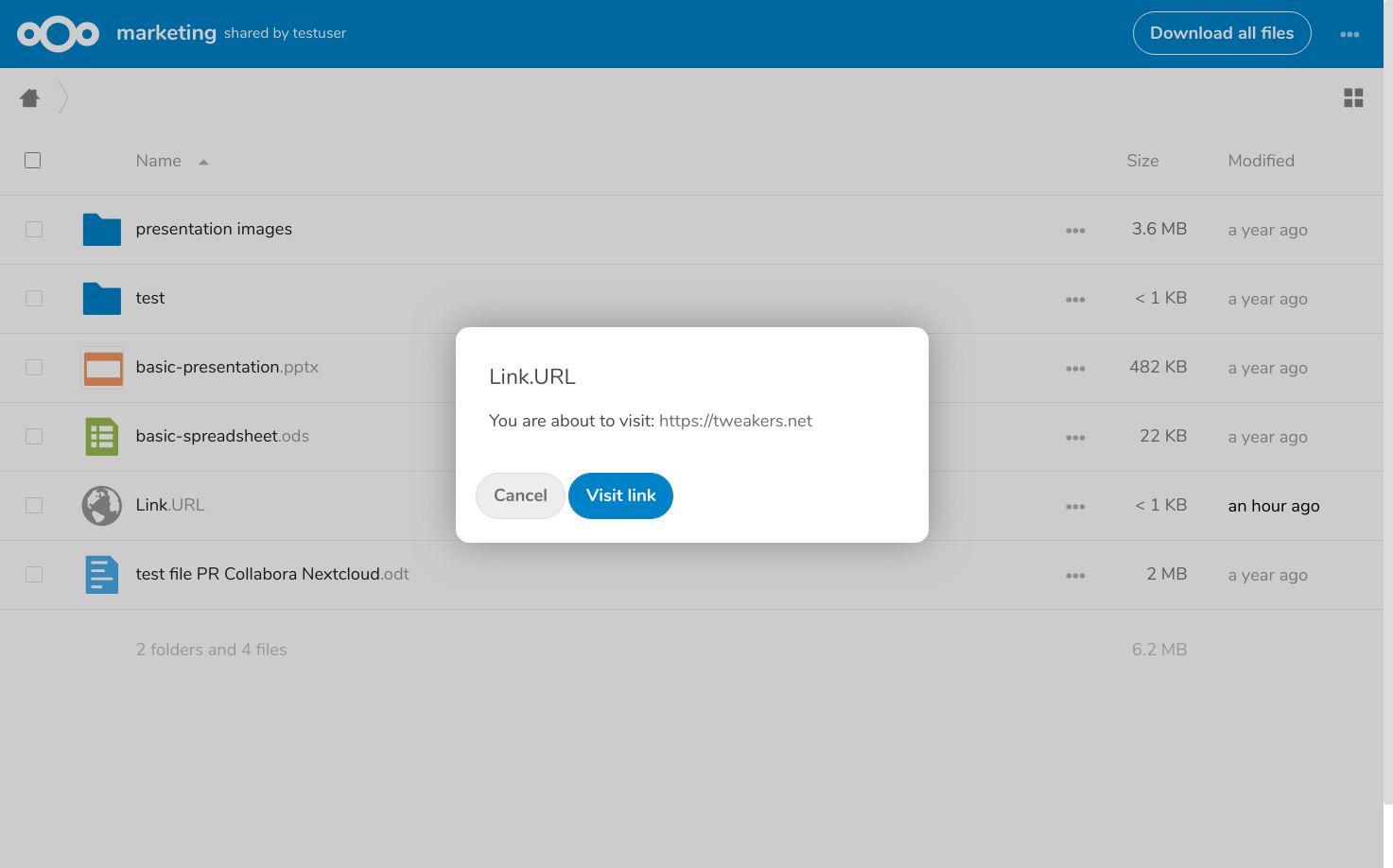 An app update for Nextcloud