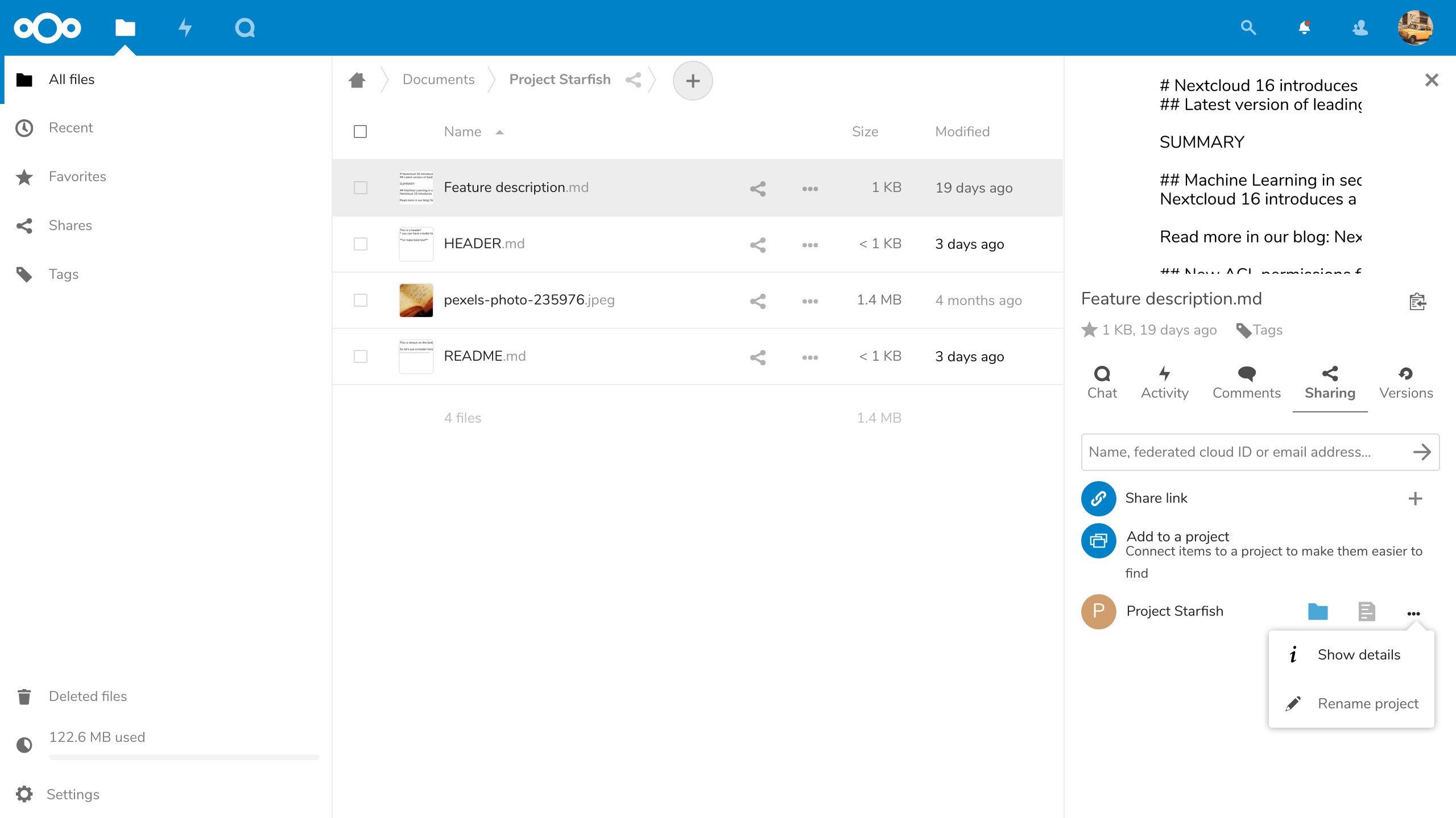 Nextcloud 16 allows you to link resources to keep track of your projects