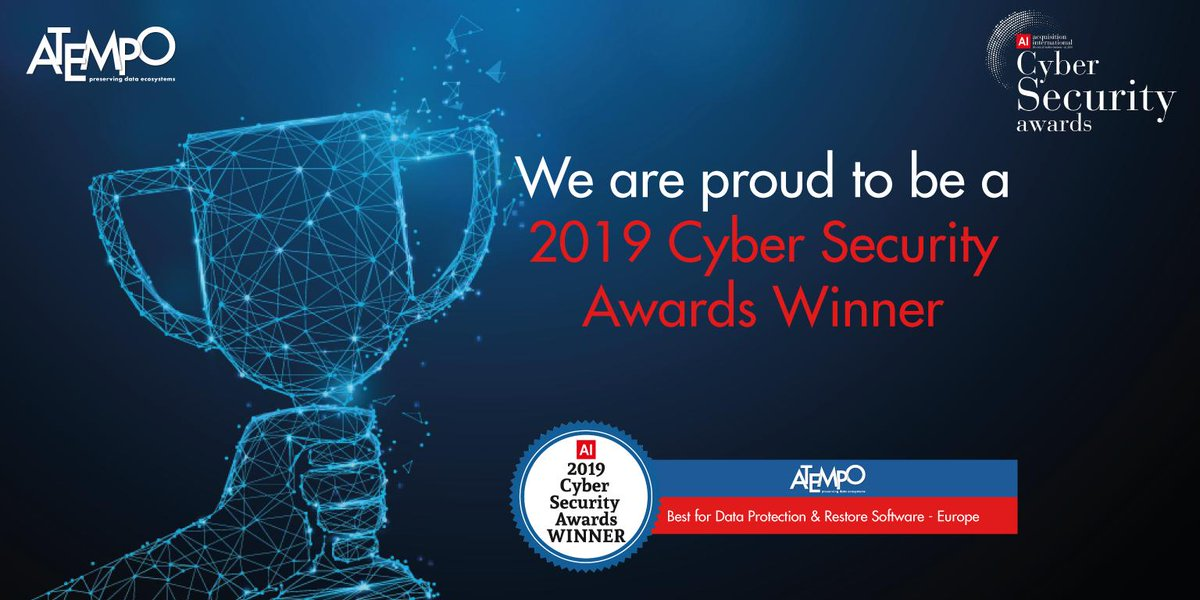 Acquisition International Magazine have recently announced the winners of the 2019 Cyber Security Awards: Atempo Data Protection is proud to be a winner of the 2019 Cyber Security Awards - Best for Data Protection Restore Software - Europe https://hubs.ly